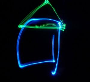 Haus mit Licht gemalt