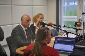 Radiogruppe Adventure interviewt den stellvertretenden Oberbürgermeister von Saporishja, die ukrainische Partnerstadt Oberhausens