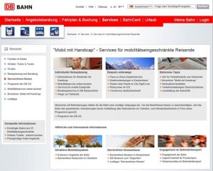 Screenshot der Bahn Website Service Handicap