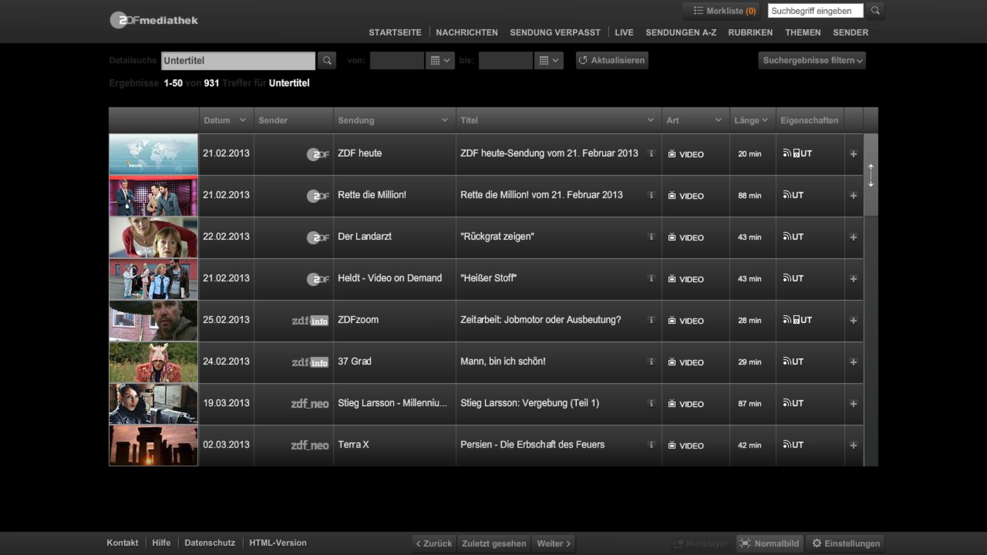 Screenshot der ZDF Mediathek