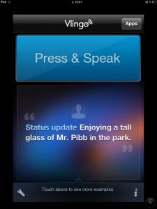 """Startbildschirm der App """" Vlingo"""""""