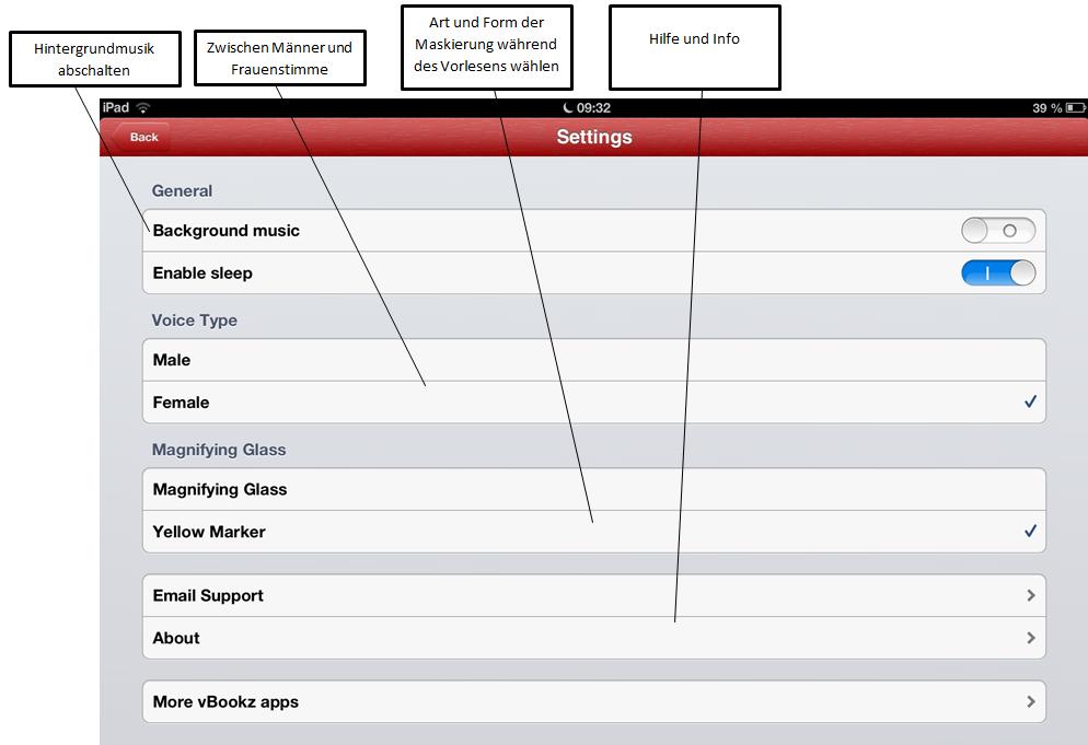"""Übersicht der Einstellungen von """"PDF Voice Reader"""""""