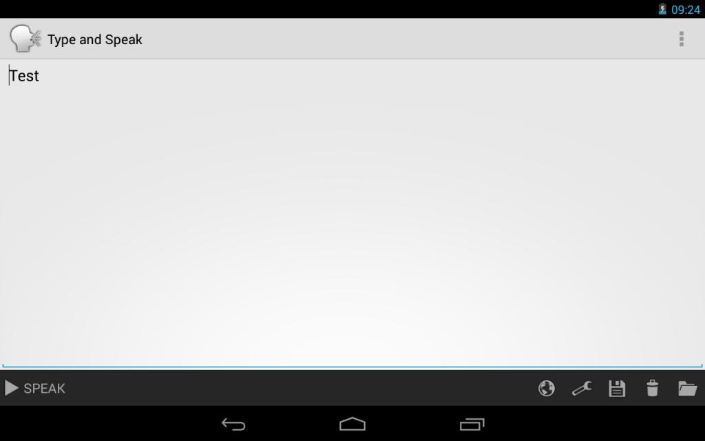 """Screenshot der App """"Type and Speak"""""""