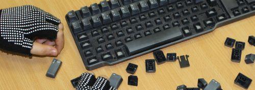 Tastatur mit ausgebauten Tasten
