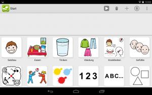 Startbildschirm mit Übersicht aller Kategorien