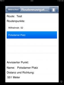 Screenshot der Distanzanzeige und Richtung der App MyWay