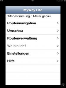 Screenshort des Hauptmenüs der App MyWay