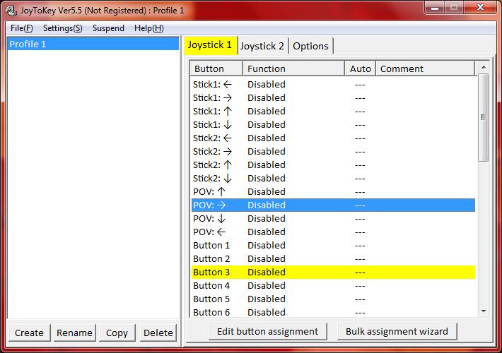 Programmfenster von JoyToKey mit einer Liste aller belegbaren Tasten