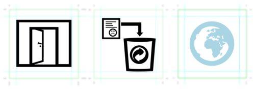 """Abbildung 1: Als """"gut"""" getestete Funktionssymbole (Anmelden, löschen, Beiträge von allen Kontakten anzeigen)"""