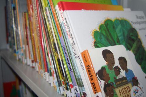 Kinderbücher in verschiedenen Sprache  in einem Regal