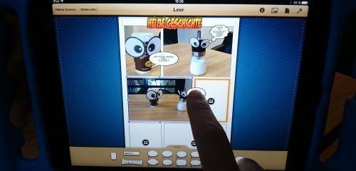 Comicerstellung auf dem Tablet mit Augenfotos