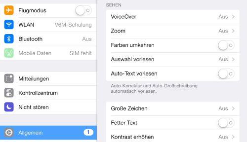 Screenshot Ausschnitt Bedienungshilfen des iPads