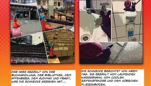 """Auszug aus dem entstandenen Comic: Bild 1, 4 Szenen mit dem Hasen plus Text: """"Der Hase erzählt von der Buchhandlung, der Bibliothek, dem Affenberg, dem Audimax und fragt, was die Schnecke gesehen hat..."""", Bild 2, 3 Szenen mit der Schnecke plus Text: """"Die Schnecke berichtet vom ihrem Tag. Sie erzählt vom laufenden Wasserhahn, vom coolen Seifenspender und dem hübschen Fliesenboden..."""""""