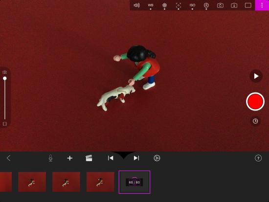 "Screenshot der App ""StopMotion Studio"" zu sehen sind zwei Playmobilfiguren"