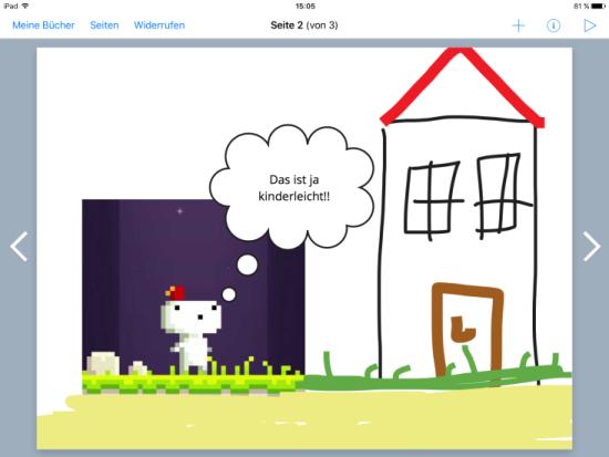 """Screenshot der App """"BookCreator"""" zu sehen ist eine Collage."""