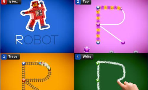 Screenshot der App Letterschool: Gezeigt werden die verschiedenen Nachspur-Aufgaben