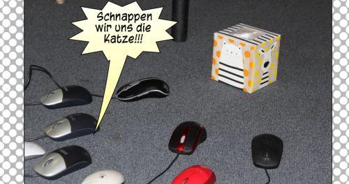 """Auszug aus dem Comic: Die (Computer-) Mäuse """"laufen"""" auf die """"Katze"""" - Die Papierbox - zu"""