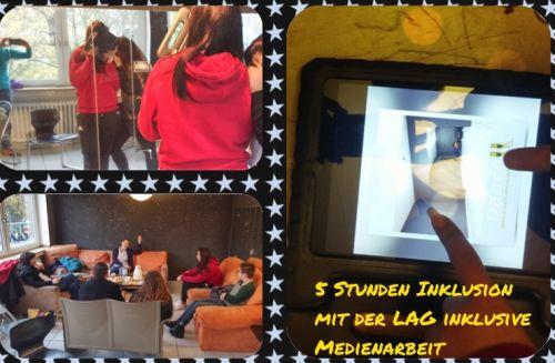 Photogrid-Collage: Teilnehmende des Coaching-Angebots 5 Stunden für Inklusion bei der Umsetzung eines Fotoprojekts