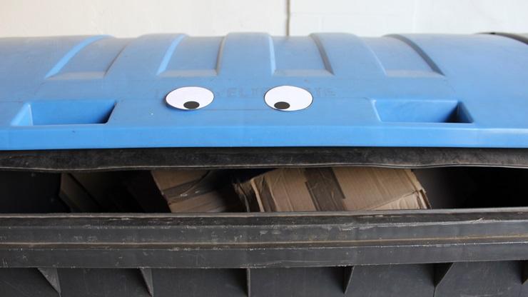 Mülltonne mit Pappaugen beklebt