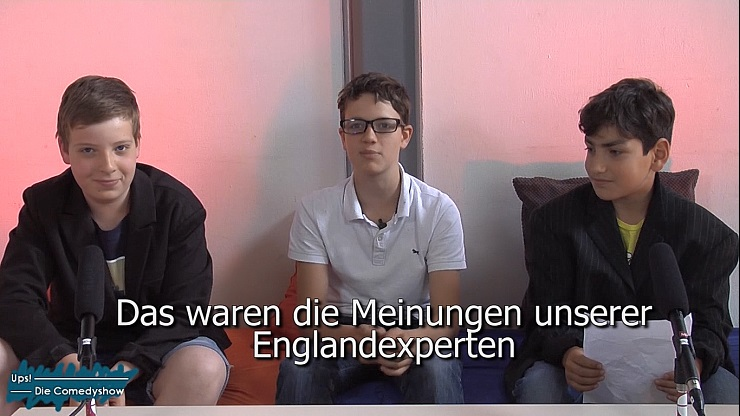 """Filmausschnitt: drei Jungen vor der Kamera. Untertitel: """"Das waren die Meinungen unseren Experten"""""""