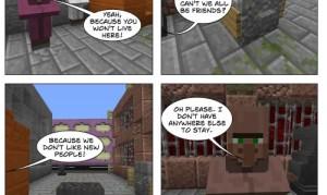 Comicausschnitt mit Minecraftmaterial
