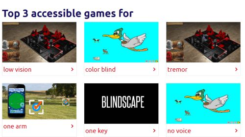 Screenshot der Seite Game Accessibiliity