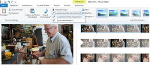 Screenshot MovieMaker mit Beispielfilm: Funktion Audiokommentar aufzeichnen ist aktiviert