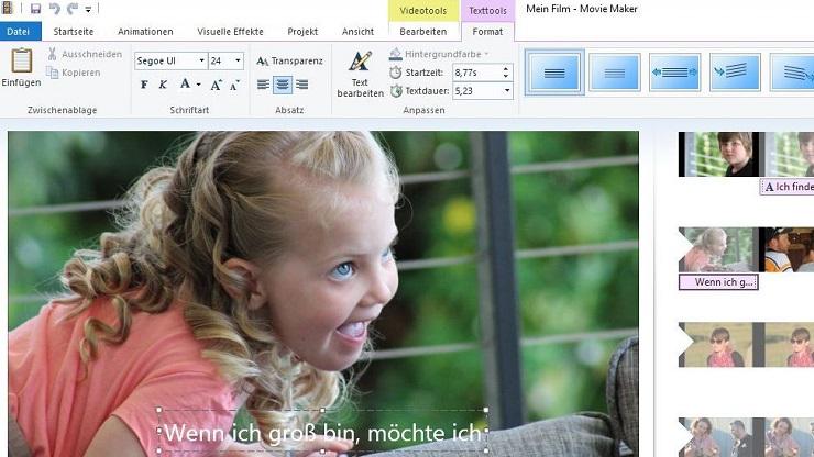 Bildschirmfoto: Untertitel mit MovieMaker erstellen