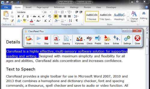 Screenshot von ClaroRead in Kombination mit einem Word-Dokument
