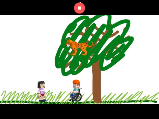 """Screenshot der App """"Toontastic 3D"""" zu sehen ist ein selbstgemaltes Szenario"""