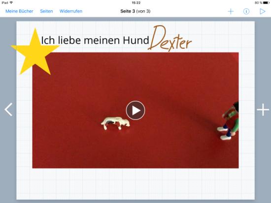 """Screenshot der App """"BookCreator"""" zu sehen ist die Einbindung eines Videos."""