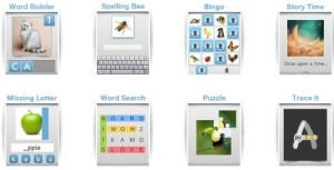 Screenshot: Einige Lernspiele der App Bitsboard