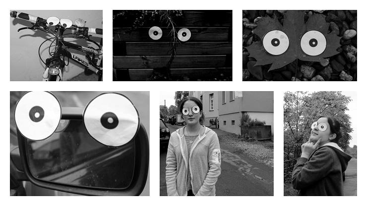 Augenfotos: Pappaugen z. B. auf Fahrräder oder Mülltonnen geklebt