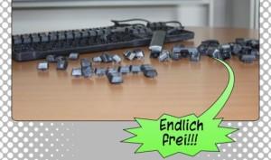 """Ausschnitt aus dem Comic: Die ausgebauten Tastatur-Tasten rufen """"Endlich frei!"""""""