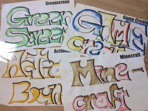 Stationenschilder, in Comicschrift und Normaldruck: Greenscreen, Actionbound, Minecraft und Game Creator