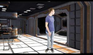 Foto eines jungen Mannes in einer animierten Raumschiffszene