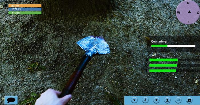 """In Computerspiel-Optik: Jemand gräbt mit einem Spaten in der Erde. Screenshot aus dem Film """"Challenge of Life""""."""