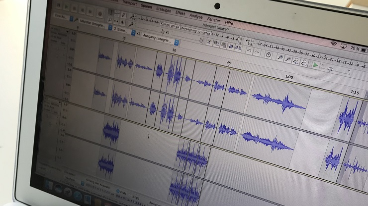 Mac-Bildschirm mit Audioschnittprogramm Audacity