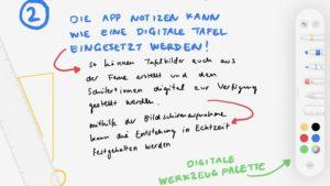Screenshot der App Notizen mit Werkzeugen zum Zeichnen