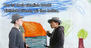 """Ausschnitt aus Rotkäppchen-Gebärdenvideo: Zwei Jungen vor selbstgemaltem HIntergrund gebärden """"Der ist doch ziemlich krank. Vielleicht können wir ihm helfen?"""""""