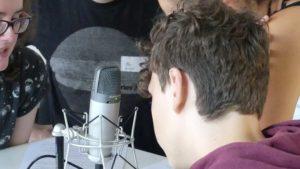 Diktieren in ein Mikrofon