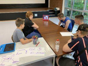 Teilnehmende des Sommerferienprojekts kommunizieren mit anderen Teilnehmenden via Skype und iPad