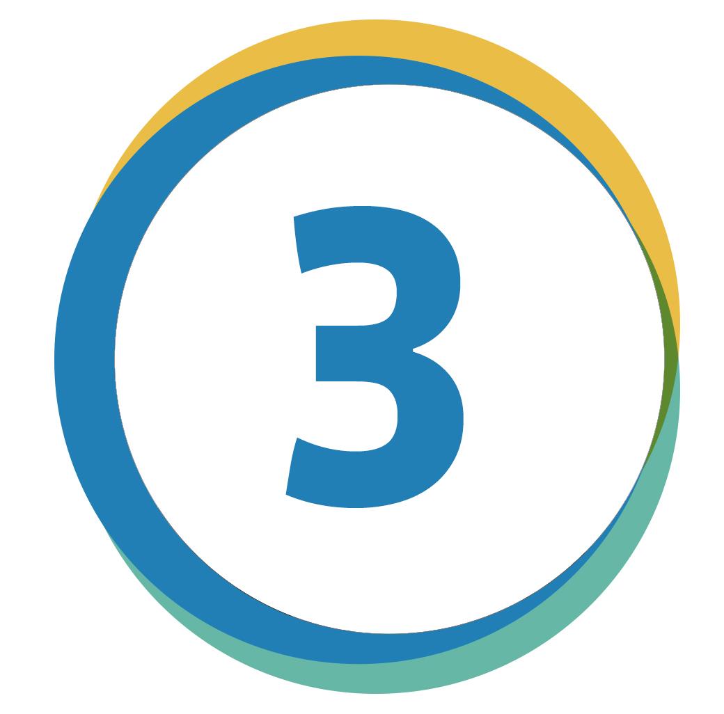 Kreis mit einer 3 innerhalb