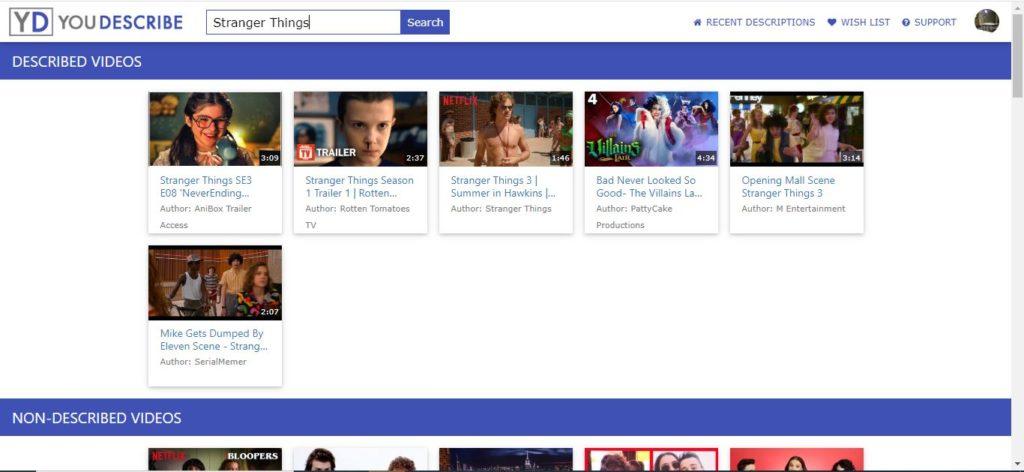 Bildschirmaufnahme der Plattform YouDescribe, oben Suchleiste mit eingegebenem Suchbegriff, darunter Videos in der Kategorie beschriebene Videos, darunter die Kategorie nicht beschriebene Videos