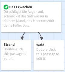 Zwei neue Textfelder mit Handlungsalternativen von Twine automatisch erstellt