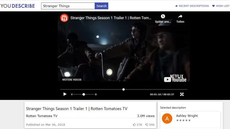 Bildschirmaufnahme der Plattform YouDescribe, ein YouTube Video, darunter der Titel und weitere Informationen