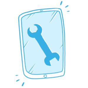 Icon Tool-Tipp: Ein iPad auf dessen Display ein Maulschlüssel abgebildet ist