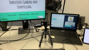Streaming-Setup für Online-Workshop Inklusives Storytelling