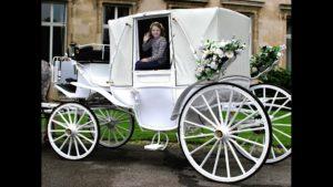 Mädchen in weißer Hochzeitskutsche (Fotomontage mit Greenscreen-Technik)