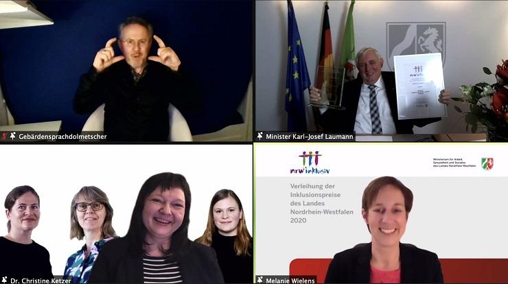 Screenshot Online-Preisverleihung Inklusionspreis NRW